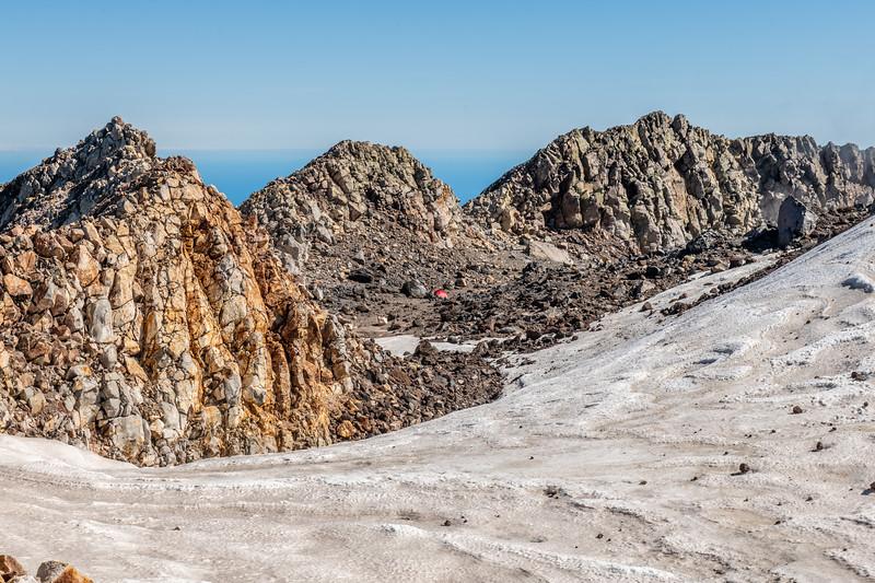 Campsite in Taranaki's summit crater.