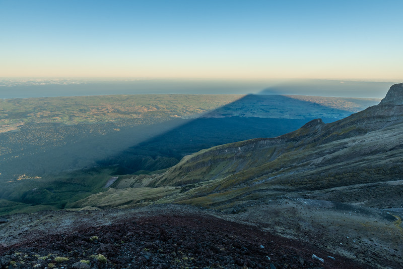 Tha shadow of Taranaki from Fanthams Peak