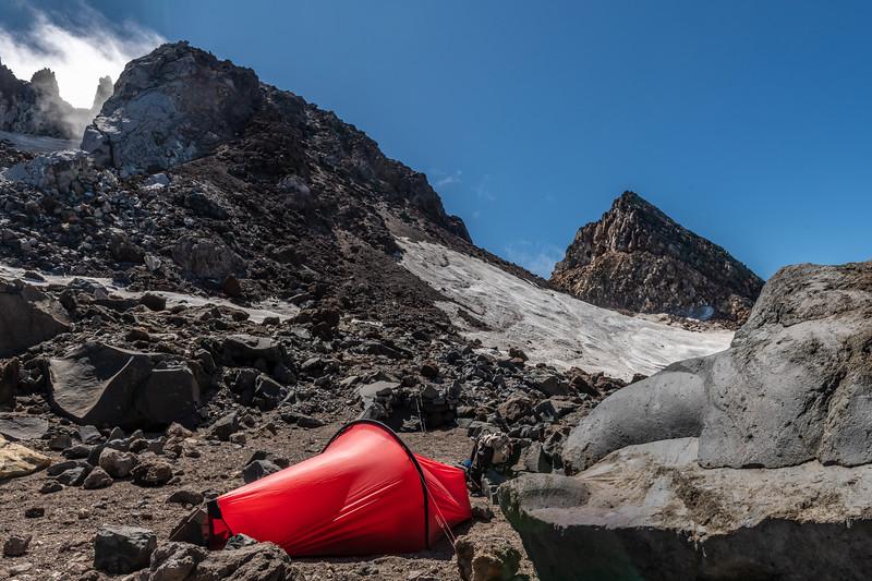 Campsite in Taranaki's summit crater