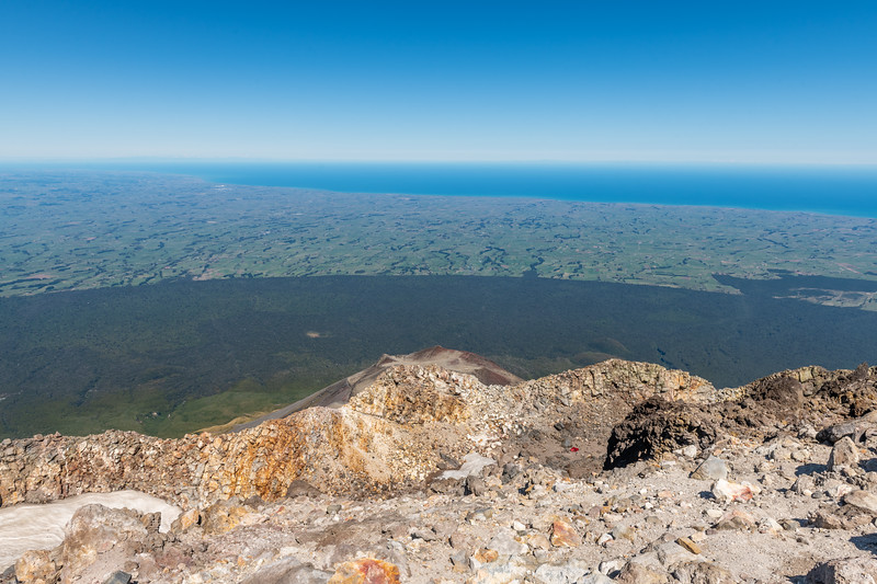 View south from the summit of Taranaki, over The Sisters and Fanthams Peak.