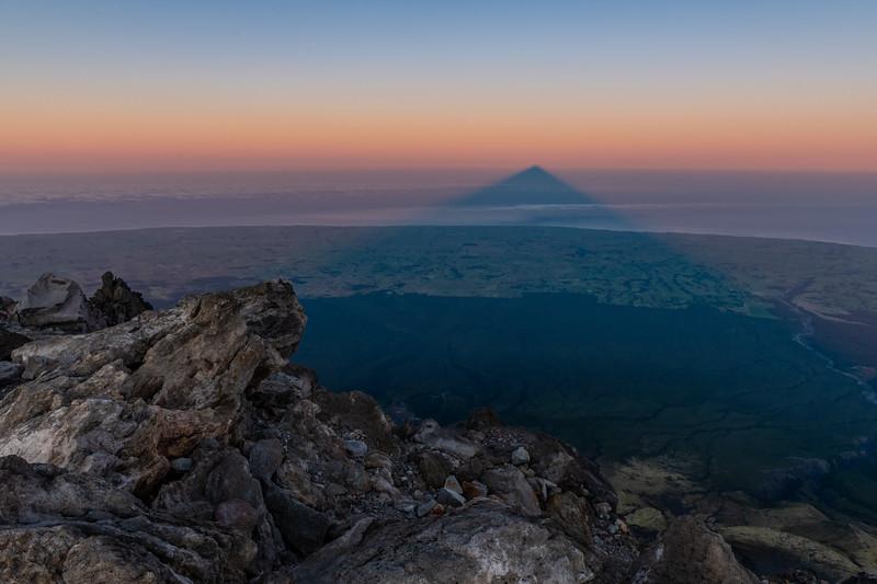 The shadow of Taranaki at sunrise.