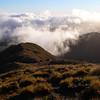 The ridge towards the Tararua Peaks in the mist