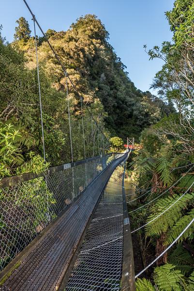 The recently collapsed Hopuruahine Bridge, Lake Waikaremoana Track