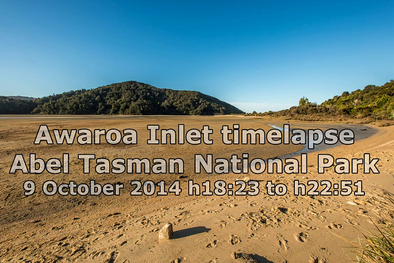 Timelapse of the incoming tide in Awaroa Inlet.