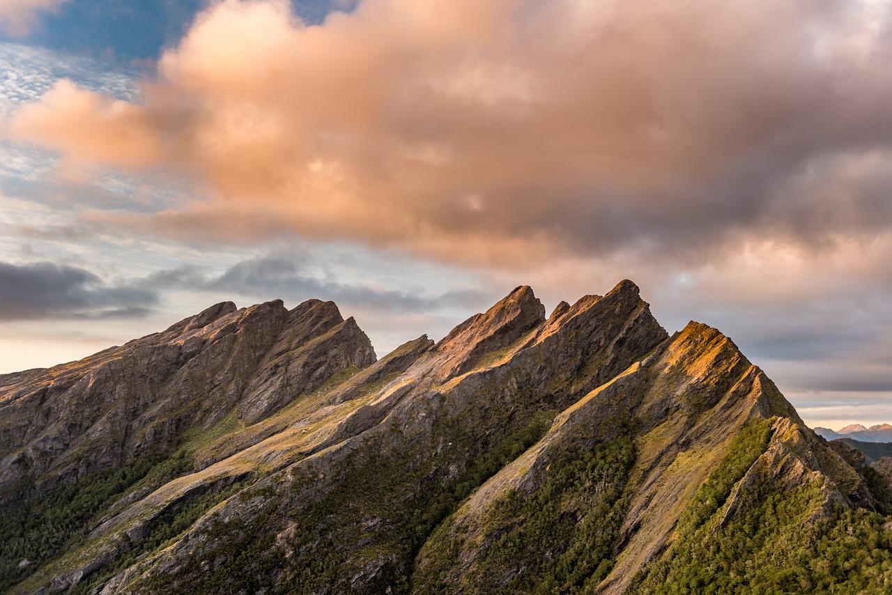 First sun rays of the year on Anatoki Peak and the Dragons Teeth.