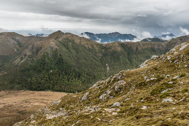 Arena Creek and Calphurnia Peak from the east ridge of Clark Peak, Lead Hills.