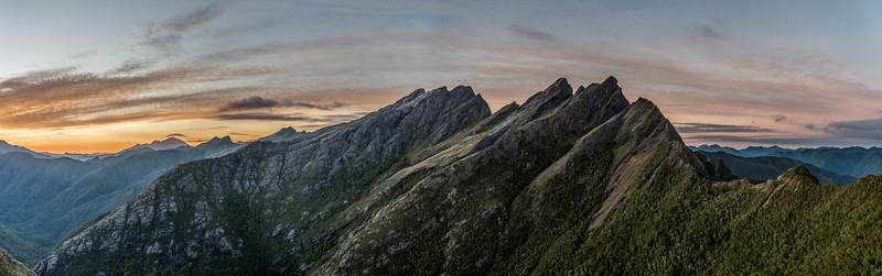Dawn panorama from the ridge south of Adelaide Tarn: Mount Snowdon, Drunken Sailors, Anatoki Peak, Dragons Teeth.