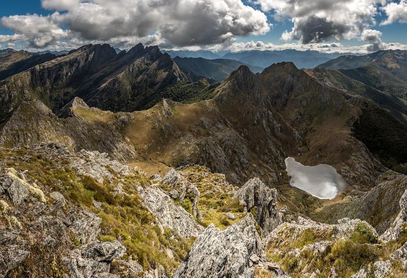 View from the summit of The Needle: Anatoki Peak, Dragons Teeth, Mount Douglas, Trident and Adelaide Tarn.