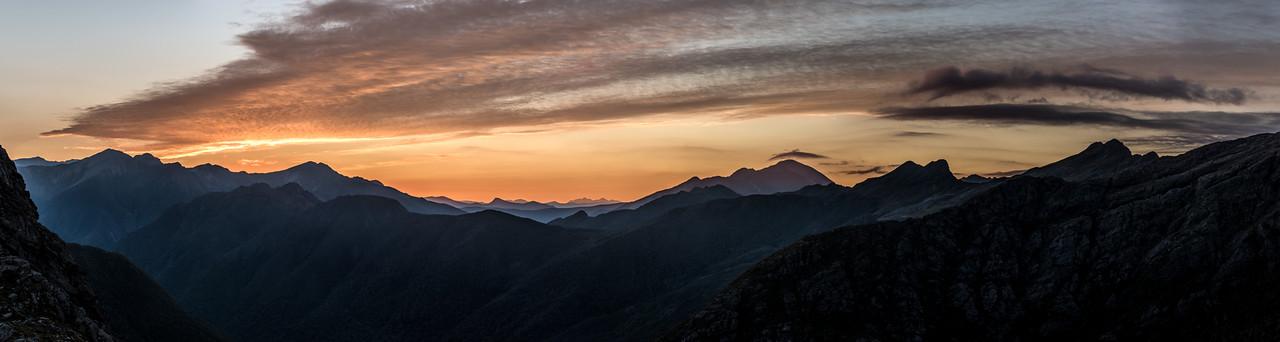Dawn panorama from the ridge south of Adelaide Tarn: Devil River Peak, Mount Snowdon, Drunken Sailors.