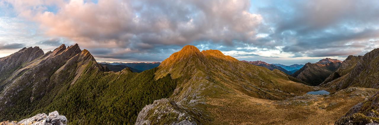 Anatoki Peak, the Dragons Teeth, Mount Douglas, Trident, Mount Olympus, Adelaide Tarn and Lead Hills.