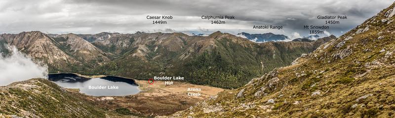 Panorama from the east ridge of Clark Peak, Lead Hills.