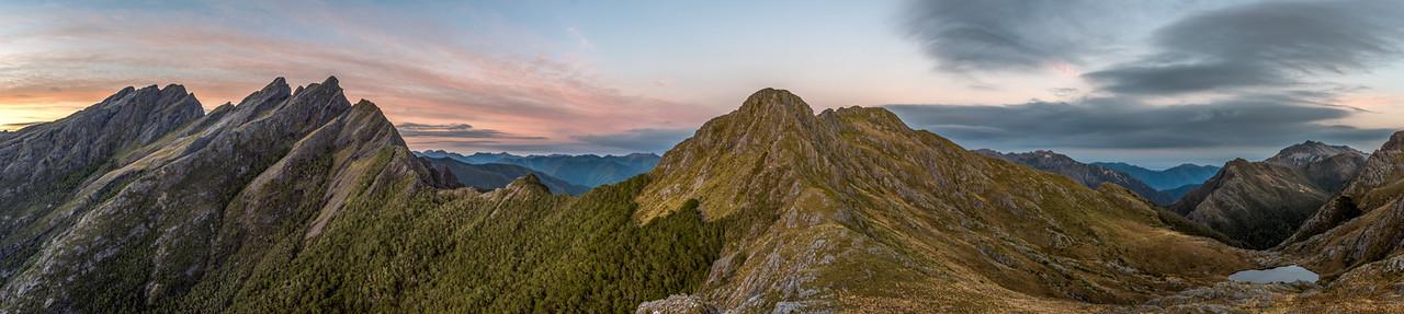 Dawn panorama from the ridge south of Adelaide Tarn: Anatoki Peak, Dragons Teeth, Mt Douglas, Trident, Adelaide Tarn and the Lead Hills.