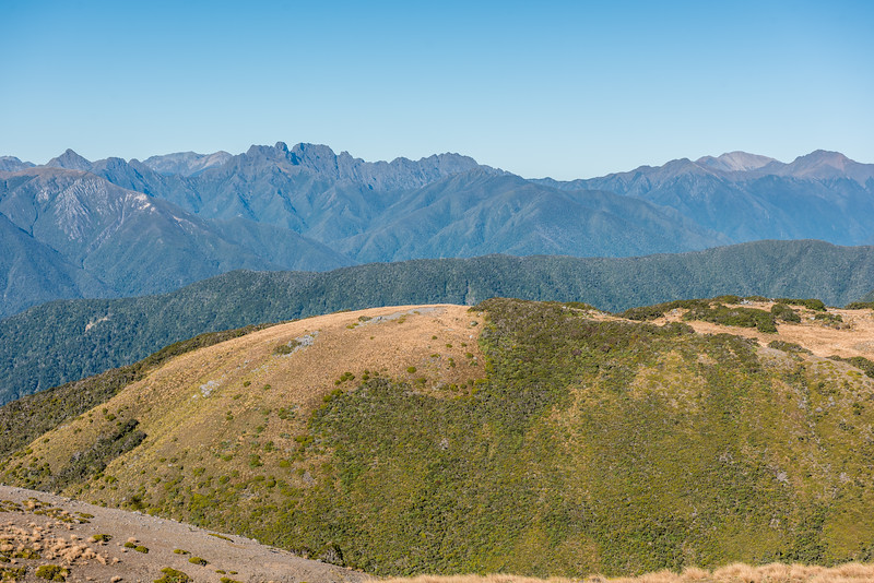 View of the Douglas Range from Pt 1263m south-west of Perry Saddle, Gouland Range. The Dragons Teeth and Anatoki Peak are at centre image. The Needle is on the left, while Kakapo Peak is on the far right.
