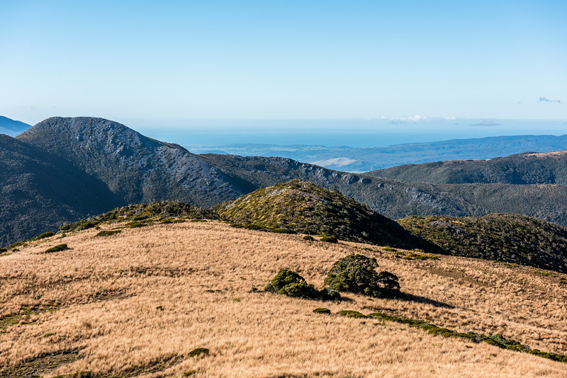 View of Mount Perry and Golden Bay from Pt 1263m south west of Perry Saddle, Gouland Range.