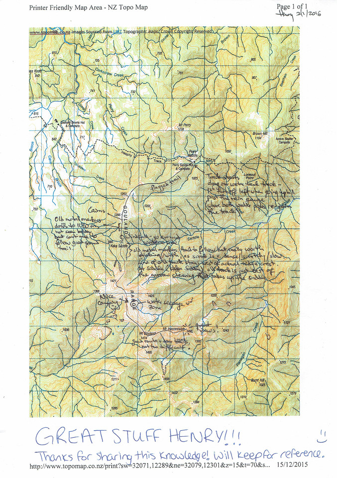 Route map for the climb of Mt Inaccessible from Perry Saddle Hut. Compiled by Henriette Beikirch.