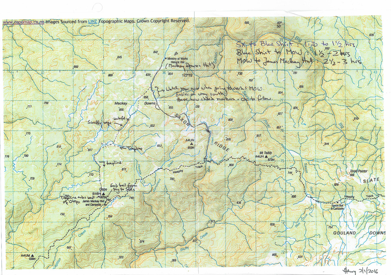 Route map for the walk from Saxon Hut to the Ministry of Works Hut. Compiled by Henriette Beikirch.