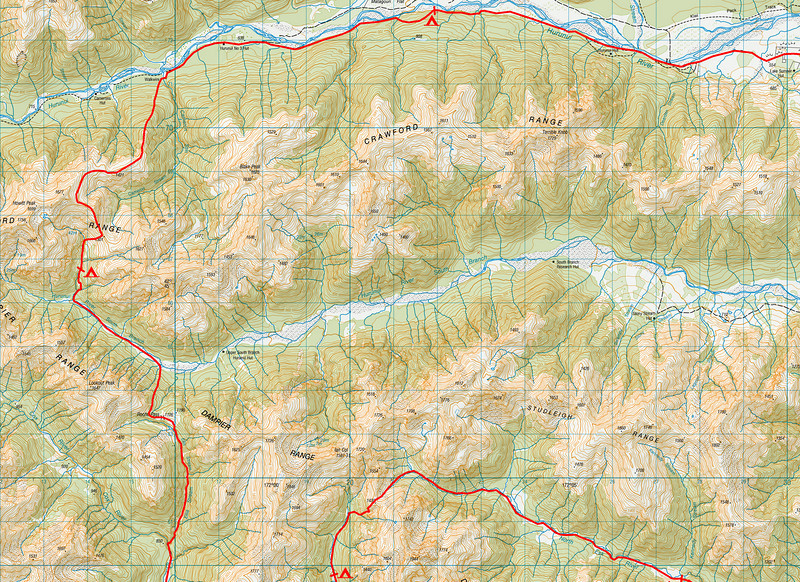 "Trip map - detail of alpine sections. 1 grid square = 1km. Left click on map then select ""Sizes -> Original"" in bottom right corner of screen to view full size"