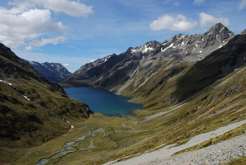Lake Constance and Franklin Ridge from the slopes below Waiau Pass