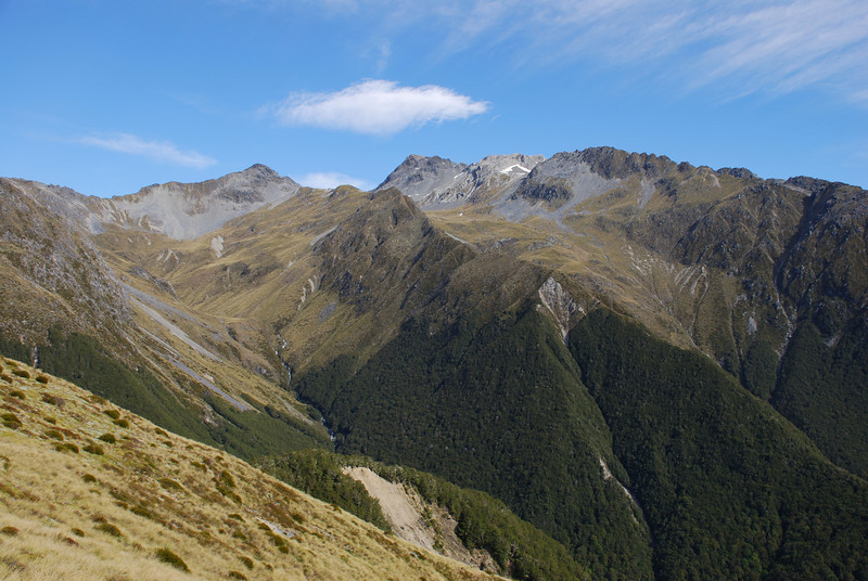 Ella Range: peaks m1931 and m1972 at the head of the unnamed stream flowing into the Matakitaki River at the top of Windfall Flat