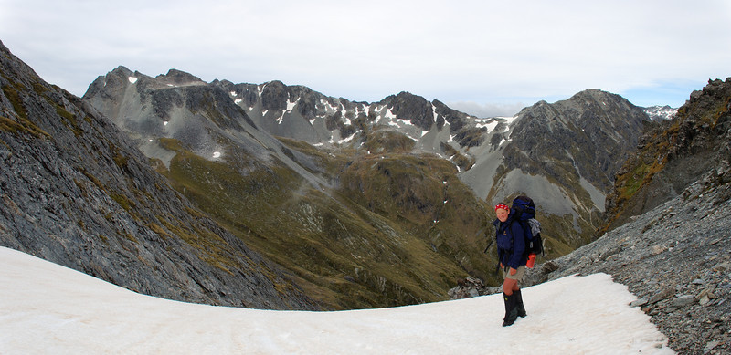Nina on Thompson Pass. D'Urville Pass is straight above her head.