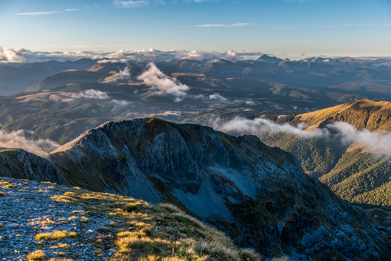 View from the summit of Mount Arthur, looking over the Tablelands. Mount Snowdon is right of centre image.