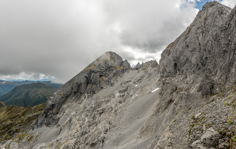 View of The Twins from the shoulder at 1700m on the  south-east ridge of the Northern Twin.