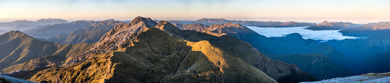 Panorama from Mount Arthur at sunrise. The Twins are at centre image.