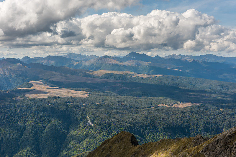 View north across the Mount Arthur Tablelands from The Twins. Mount Snowdon is at centre image.