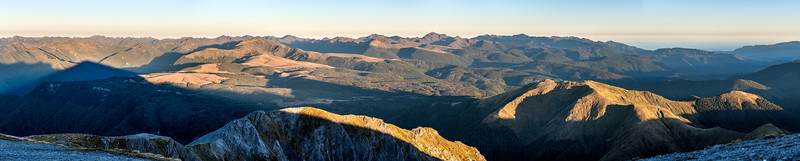 Mount Arthur Tablelands panorama. Mount Snowdon stands out at centre image; Tasman Bay is on the right.