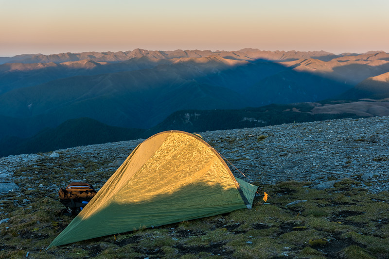 Campsite on the summit of Mount Arthur.