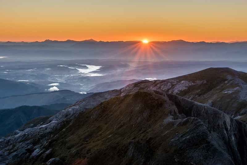Sunrise on the summit of Mount Arthur