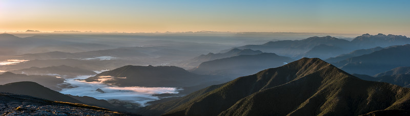 Panorama from the summit of Mount Arthur at sunrise, looking south-east