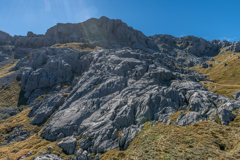 Karst landscape above Poverty Basin. Mount Owen's summit is left of centre image.