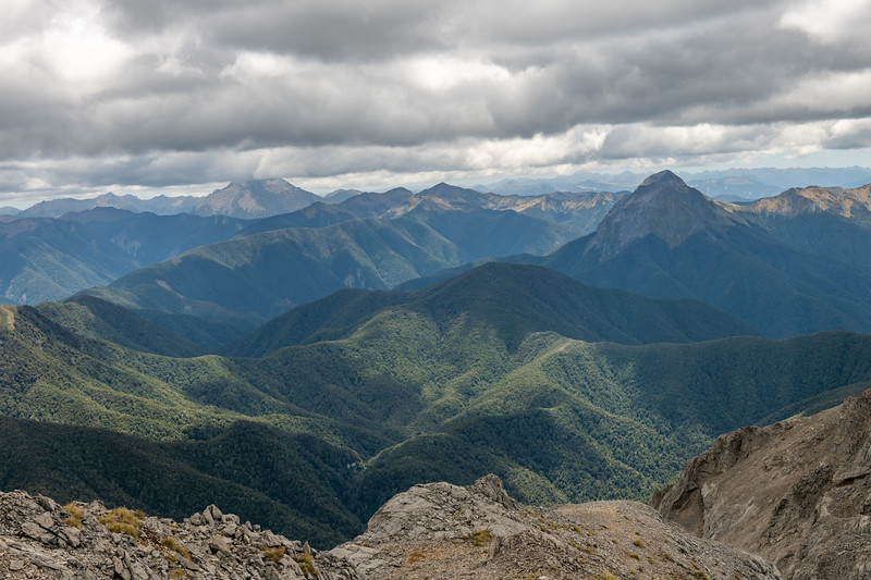 View from Culliford Hill: Mount Kendall in cloud on left; Mount Patriarch on right. Mount Owen, Kahurangi National Park.
