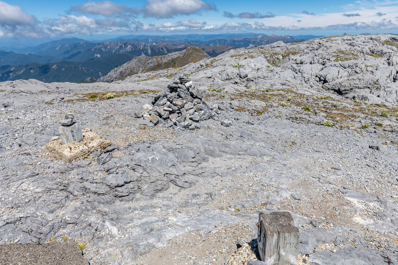 Mount Owen summit cairn - and what remains of the trig.