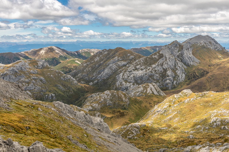 View from Culliford Hill: Granity Pass and Mount Bell. Mount Owen, Kahurangi National Park.