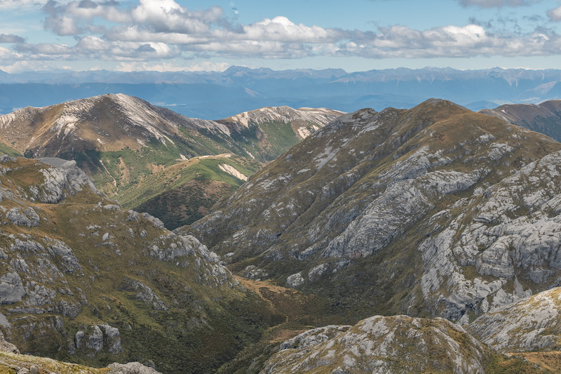 View of Granity Pass from Culliford Hill. Mount Owen, Kahurangi National Park.
