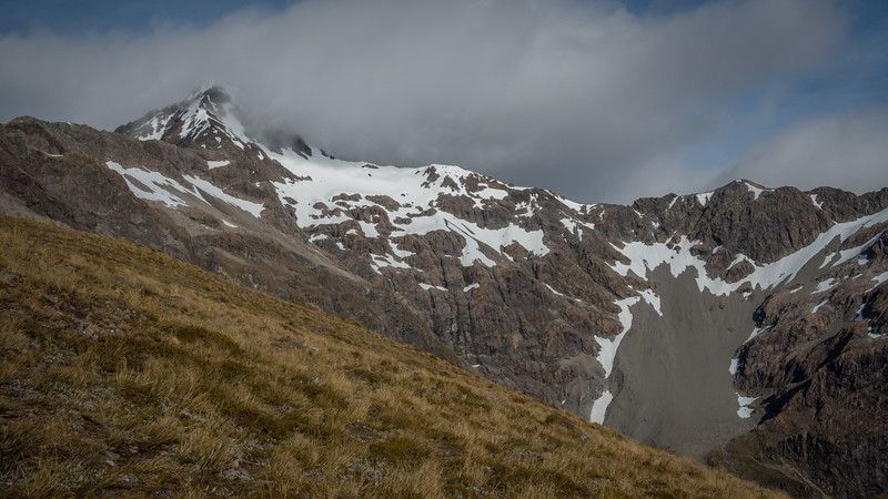 Low Peak of Mt Rolleston from lower Rome Ridge
