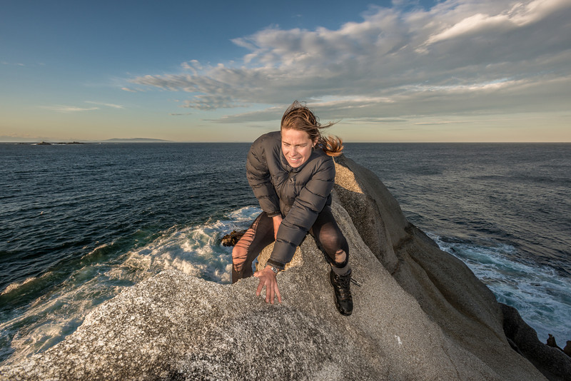 50m above the waves, a solid granite arête is a great place to practice those cheval skills. At Long Harry Bay