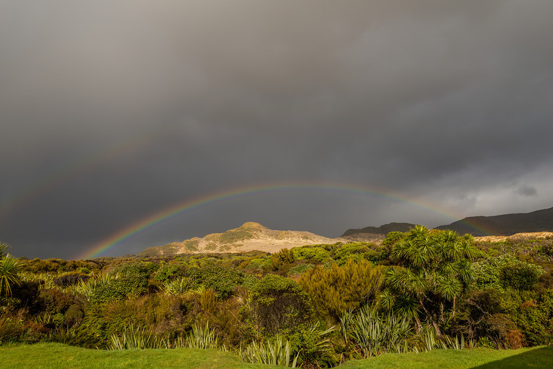 Mason Bay Hut: rainbow over the Big Sandhill