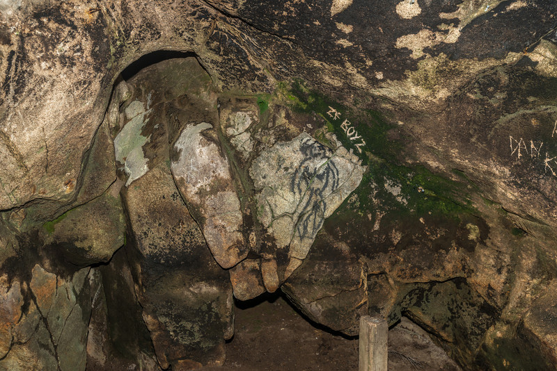Old sealers' cave at Doughboy Bay. Some not-so-ancient 'rock art'