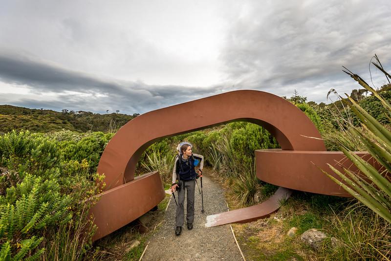 The start of the Rakiura Track at Lee Bay. The sculpture is a chain link to Te Punga o Te Waka a Maui (The Anchor Stone of Maui's Canoe), the original Māori name for Stewart Island