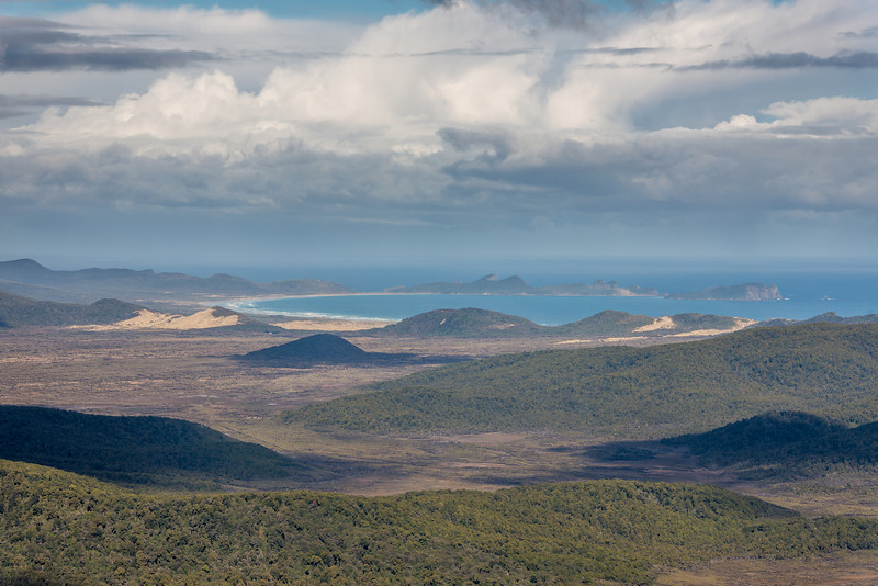 View from Rocky Mountain: Scott Burn swamps and Mason Bay. Lower Island Hill is just left of centre image, in front and right of the Big Sandhill. The Ernest Islands are in the back