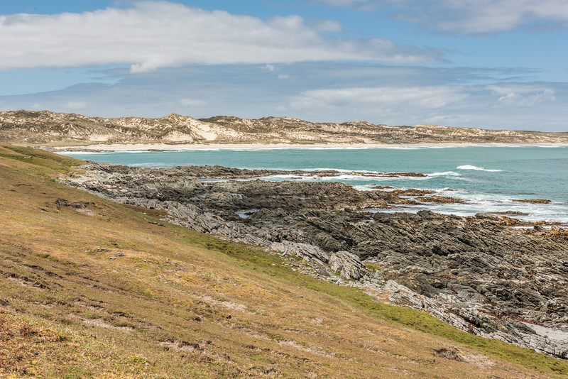 Coastline at the northern end of Long Beach, Chatham Island.