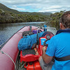 Navigating the tidal channel in the lower Rakeahua River