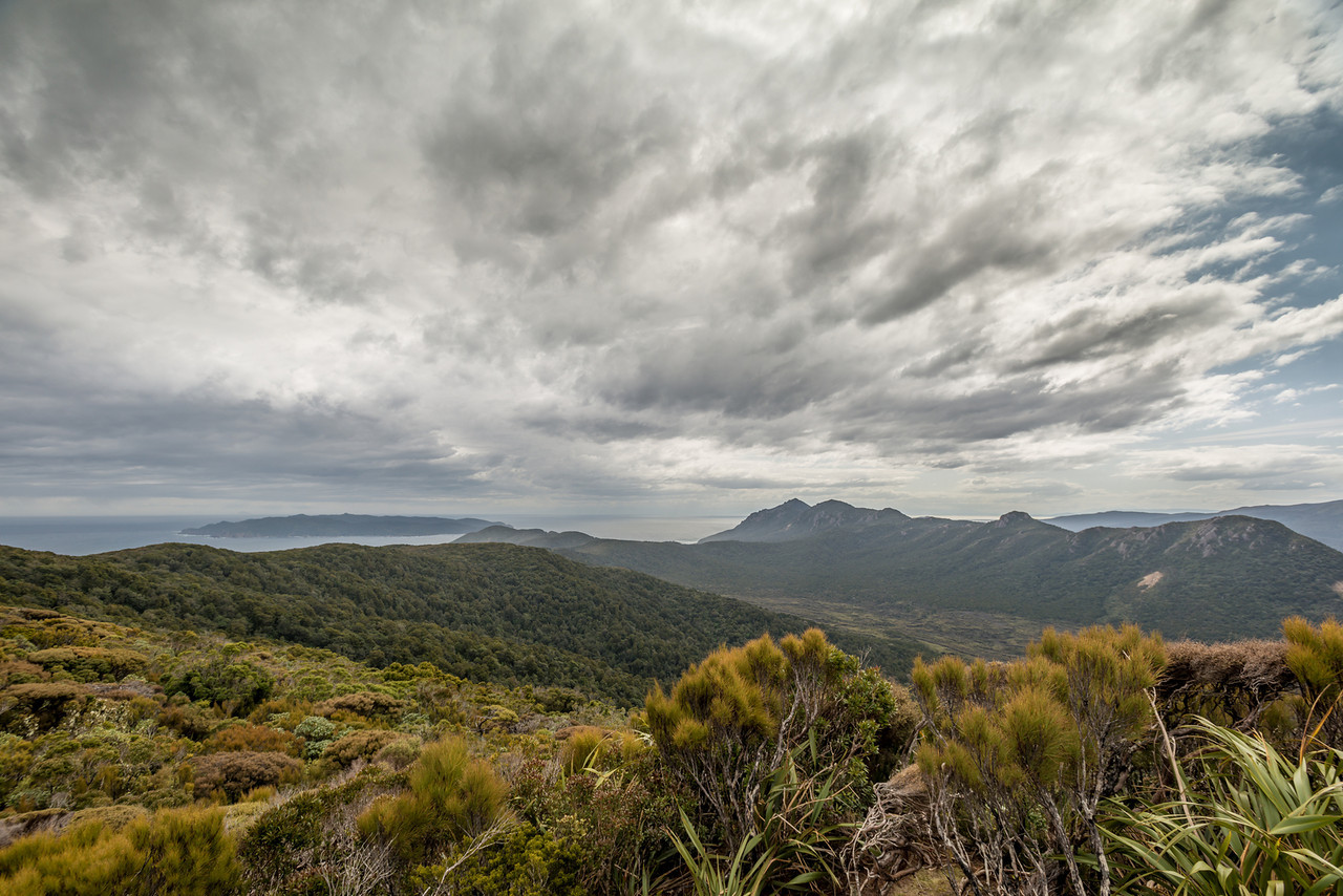 View from Hellfire Ridge: Codfish Island / Whenuahou, Ruggedy Mountains and Benson Peak