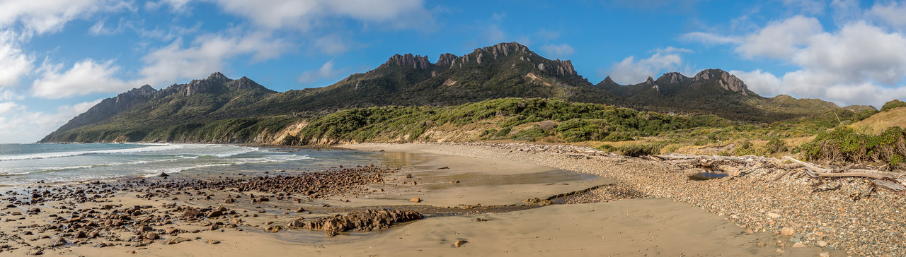Waituna Bay and Ruggedy Mountains