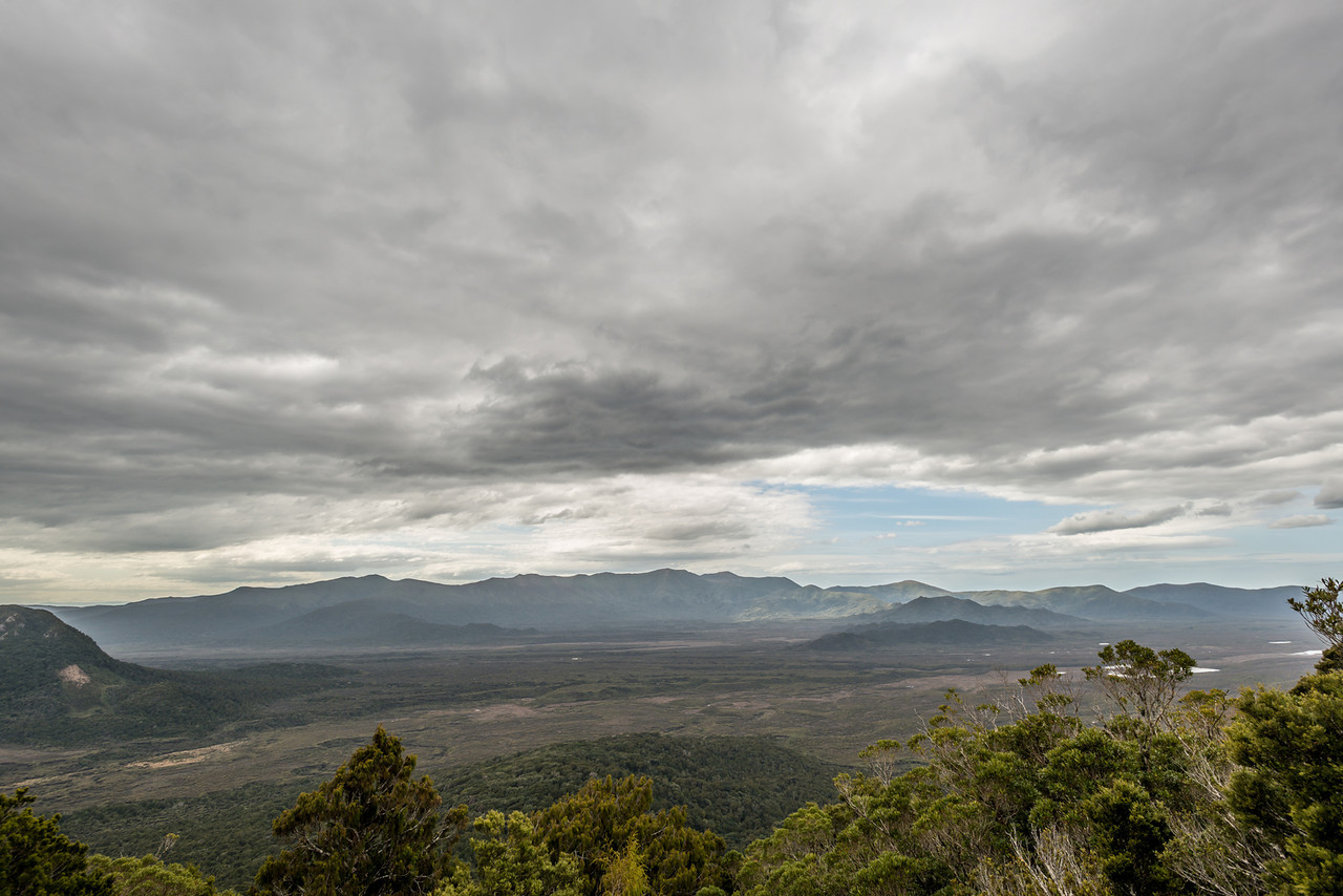 View from Hellfire Ridge: Ruggedy Flats and Mount Anglem