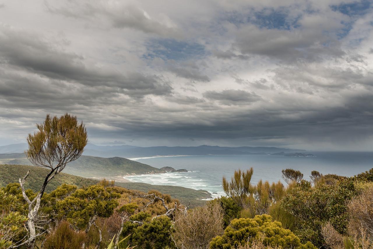 View from Hellfire Ridge: Little Hellfire Beach, Mason Head, Mason Bay and the Ernest Islands