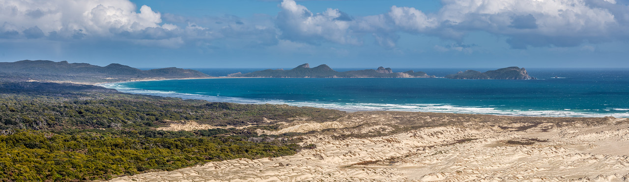 Panorama from Big Sandhill: Mason Bay, The Gutter and the Ernest Islands